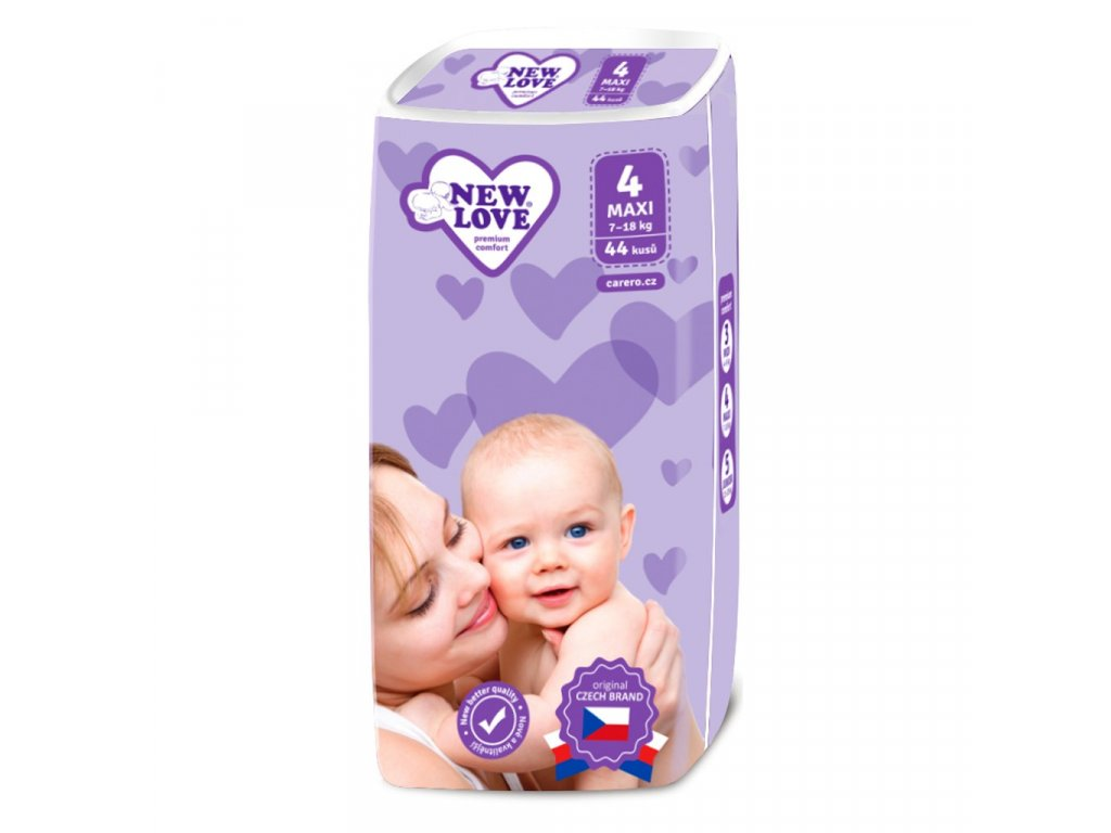 Dětské jednorázové pleny New Love Premium comfort 4 MAXI 7 18 kg 44 ks