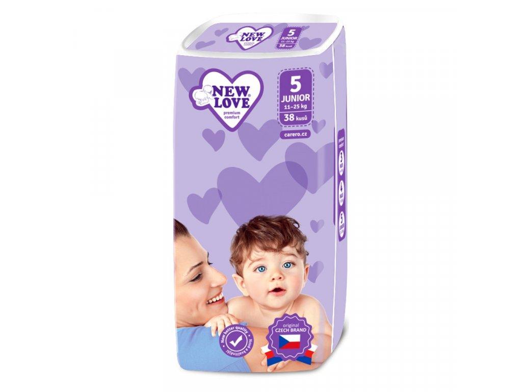 Dětské jednorázové pleny New Love Premium comfort 5 JUNIOR 11 25 kg 38 ks
