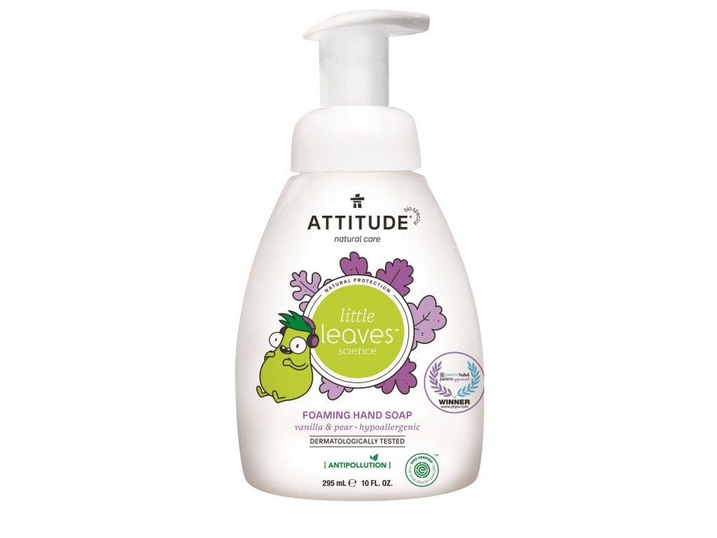 Dětské pěnivé mýdlo na ruce ATTITUDE Little leaves s vůní vanilky a hrušky 295 ml