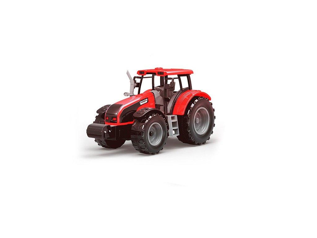 Farmářský traktor se dvěma přívěsy červený