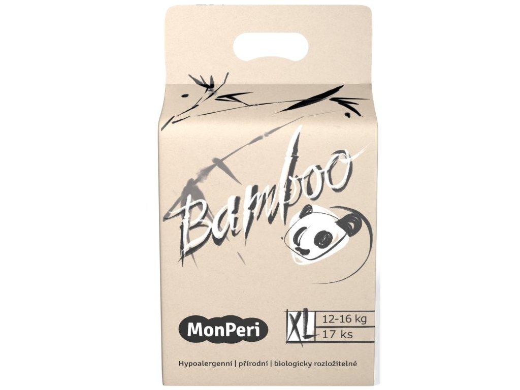 MonPeri Bamboo XL 12 16 kg 17ks EKO dětské bambusové jednorázové plenky (velikost 5)