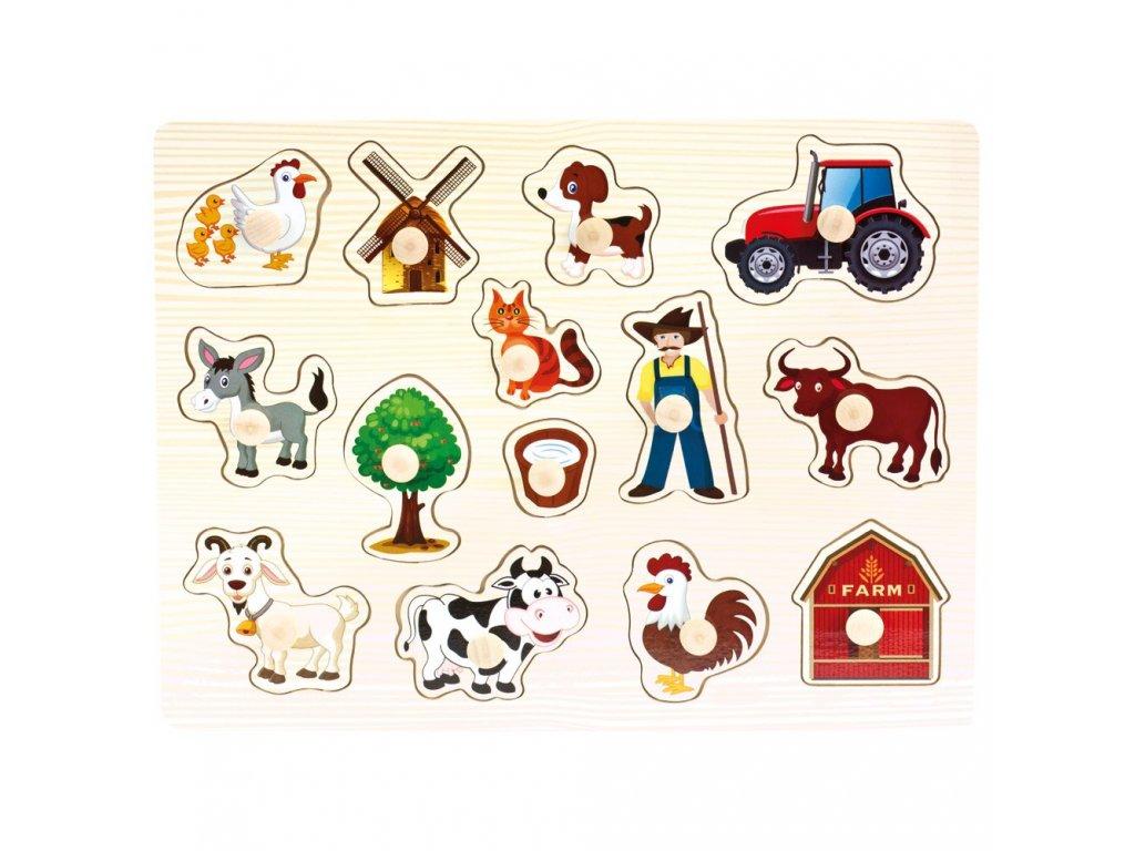 Dřevěné puzzle farma, 14d.