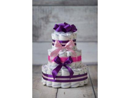 Plenkový dort třípatrový fialový