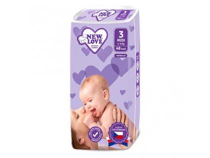 Dětské jednorázové pleny New Love Premium comfort 3 MIDI 4 9 kg 48 ks