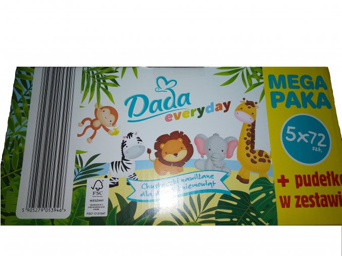 Dada vlhčené ubrousky 5x72ks + plastový box