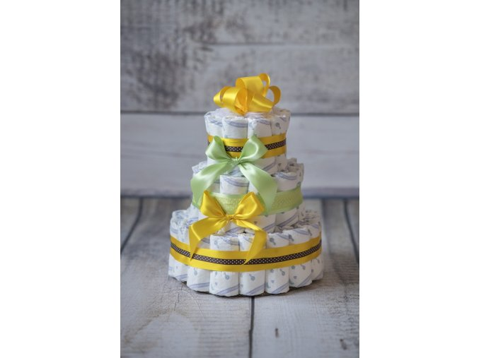 Plenkový dort třípatrový žlutozelený