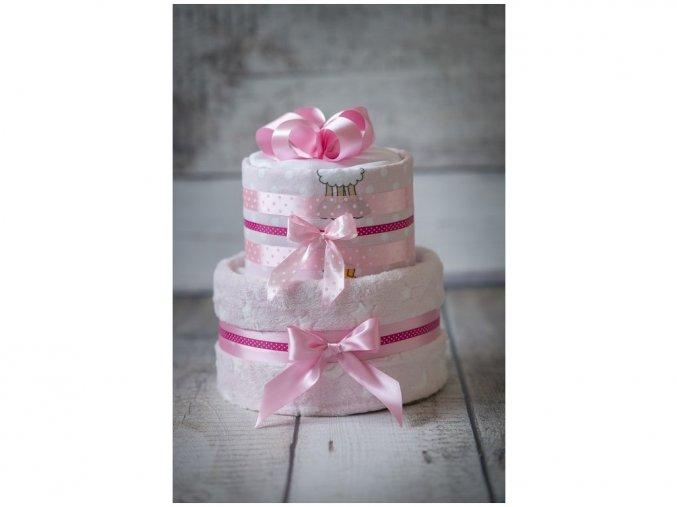 Plenkový dort dvoupatrový s bohatou náplní růžový