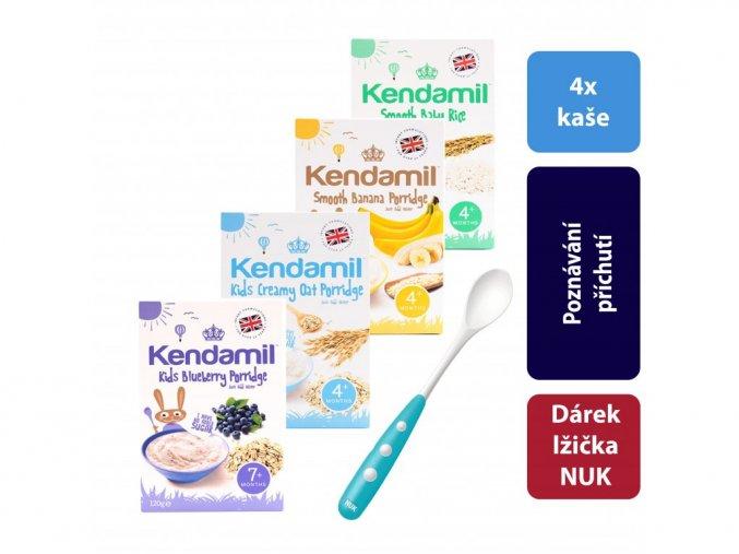 4x Kendamil variace kojeneckých kaší banánová, borůvková, rýžová, ovesná