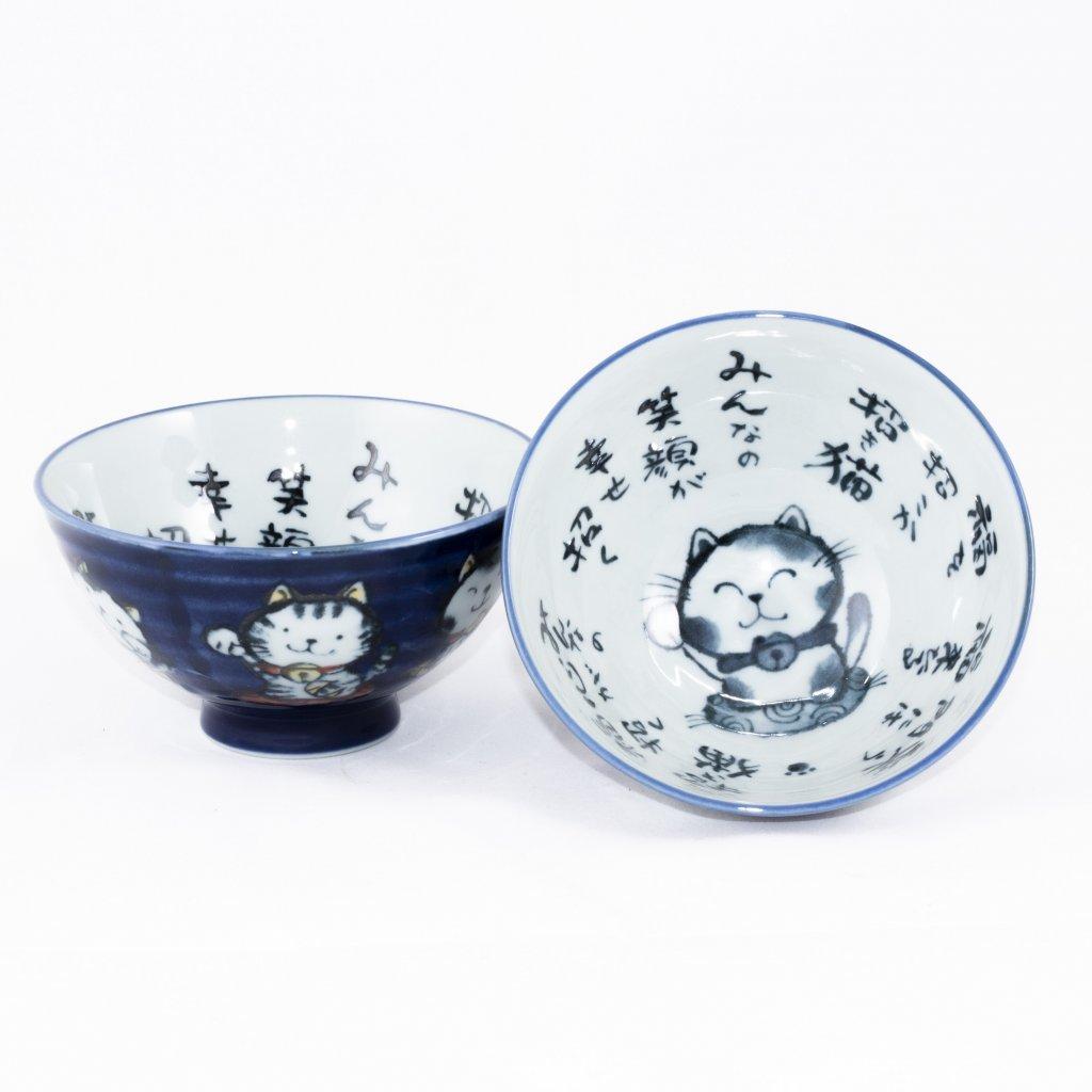 Japonská miska s kočičkou - modrá 1ks