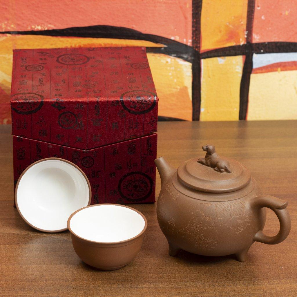 Originální Yixing konvička se šálky - pejsek