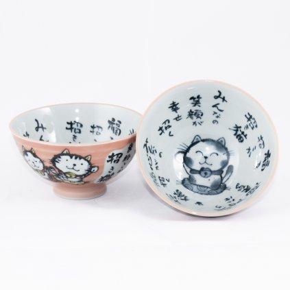 Japonská miska s kočičkou - starorůžová 1ks