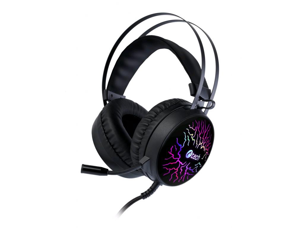 Herní sluchátka C-TECH Astro (GHS-16), casual gaming, LED, 7 barev podsvícení, GHS-16