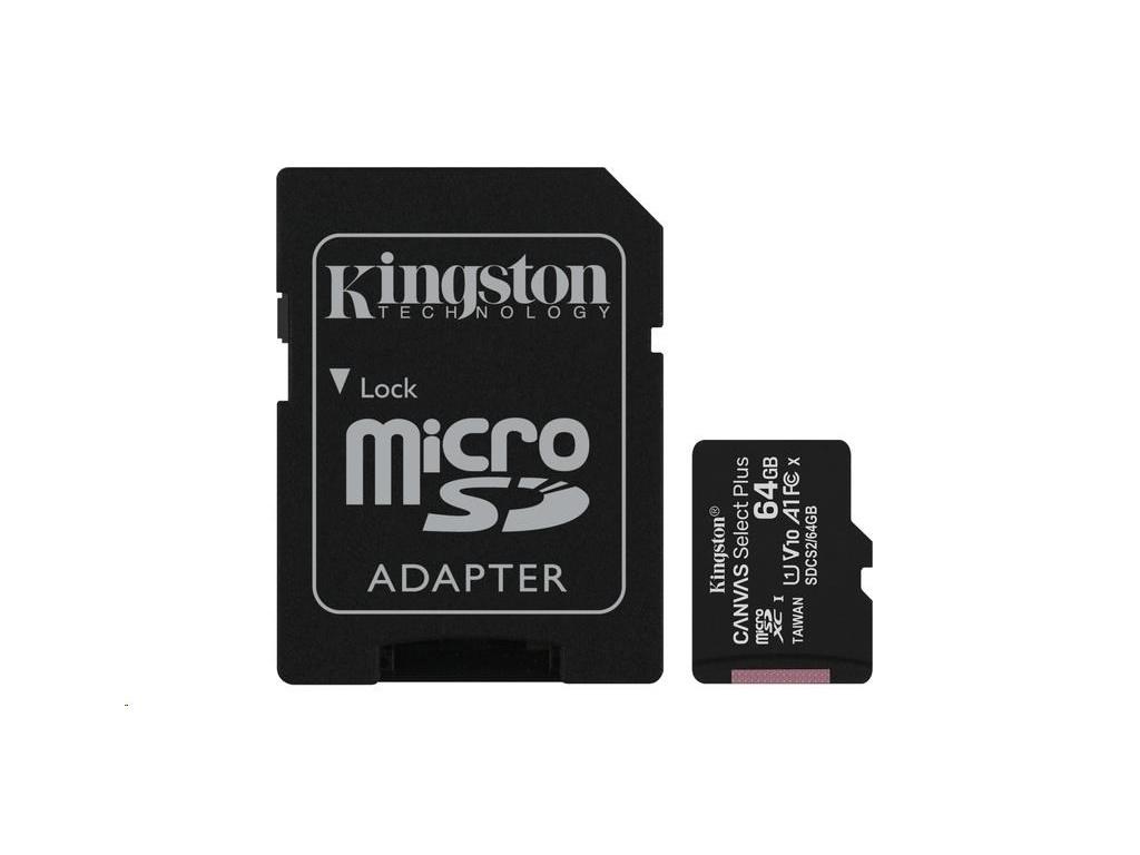 Kingston 64GB micSDXC Canvas Select Plus 100R A1 C10 Card + SD adaptér, SDCS2/64GB