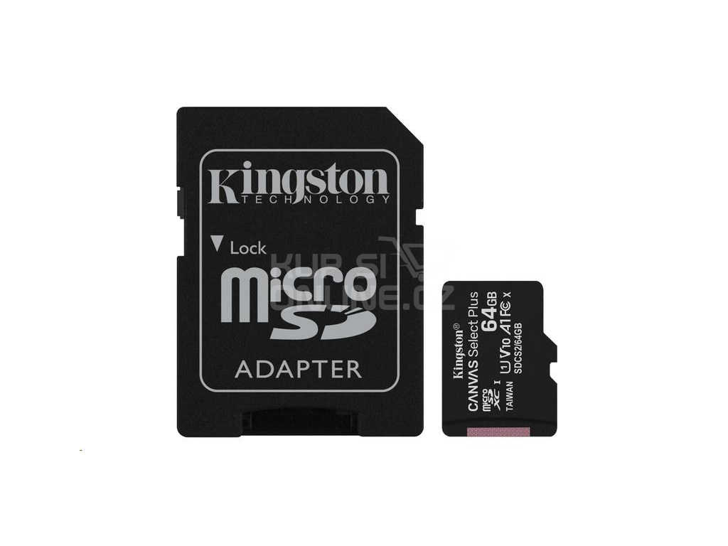 Kingston 64GB micSDXC Canvas Select Plus 100R A1 C10 Card + SD adaptér