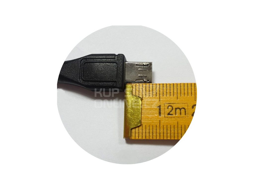 Kabel micro USB 2.0, A-B 1,8m s delším  konektorem