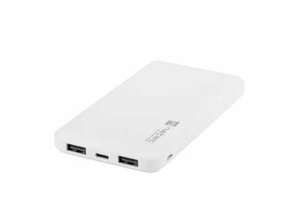 Natec Trevi Slim Power bank 10 000mAh, bílý, Type-C, micro USB