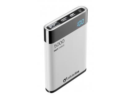 PB Cellularline Manta HD,5000 mAh,USB-C, bílá, FREEPMANTA5HDW