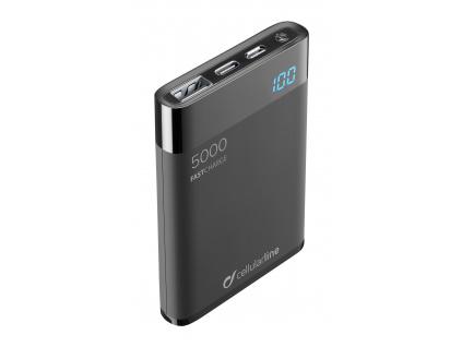 PB Cellularline Manta HD,5000 mAh,USB-C, černá, FREEPMANTA5HDK