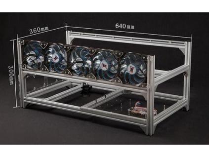 ANPIX těžební rám pro 6 grafických jednotek Gen2 (6GPU mining rig, možno doplnit ventilátory)