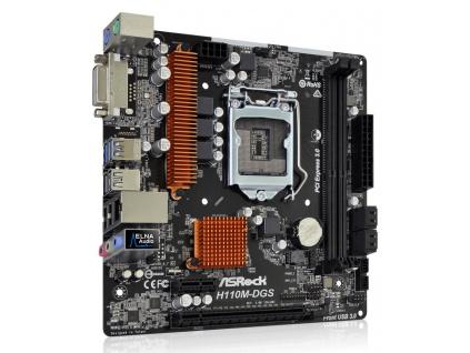 ASRock H110M-DGS R3.0 / H110 / LGA1151 / 2x DDR4 2133 / DVI-D / 4x SATA3 / 4x USB2.0 / 2x USB3.0 / mATX