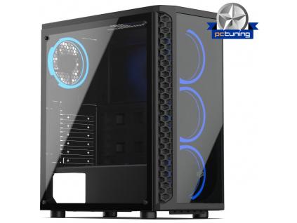 SilentiumPC skříň MidT Signum SG1X TG RGB / 2x USB 3.0/ 4x 120mm fan/ čelo a bok z tvrzeného skla/ RGB podsvícení/ černá, SPC233