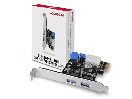 AXAGON PCEU-232VL, PCIe řadič, 2+2x USB 3.2 Gen 1 port, UASP, vč. LP, PCEU-232VL