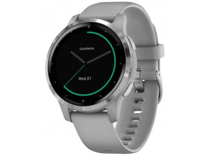 GARMIN GPS multisportovní hodinky vívoactive4S Silver/Gray Band, 010-02172-03
