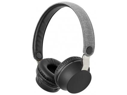NEDIS sluchátka s látkovým povrchem/ vestavěný mikrofon/ na uši/ bezdrátová/ Bluetooth v5.0/ výdrž 18h/ šedé-černé, FSHP150GY