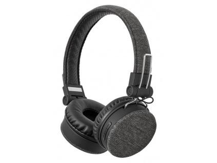 NEDIS sluchátka s látkovým povrchem/ vestavěný mikrofon/ na uši/ bezdrátová/ Bluetooth v5.0/ výdrž 18h/ antracit-černé, FSHP250AT