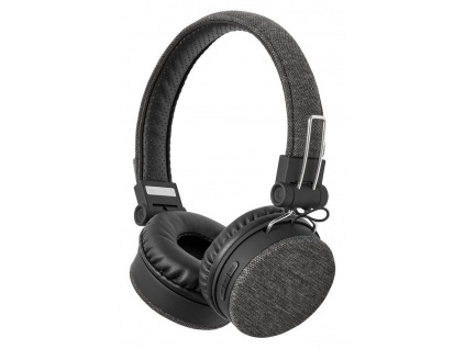 NEDIS sluchátka s látkovým povrchem/ vestavěný mikrofon/ na uši/ bezdrátová/ Bluetooth v5.0/ výdrž 18h/ antracit-černé