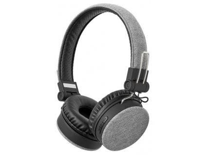 NEDIS sluchátka s látkovým povrchem/ vestavěný mikrofon/ na uši/ bezdrátová/ Bluetooth v5.0/ výdrž 18h/ šedé-černé, FSHP250GY