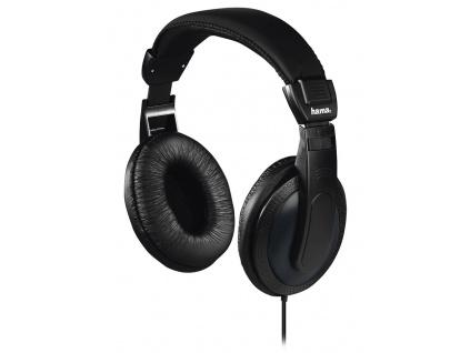 HAMA sluchátka Basic4TV/ drátová/ uzavřená/ k TV/ 3,5 mm/6,35 jack/ citlivost 113 dB/mW/ černá, 184013