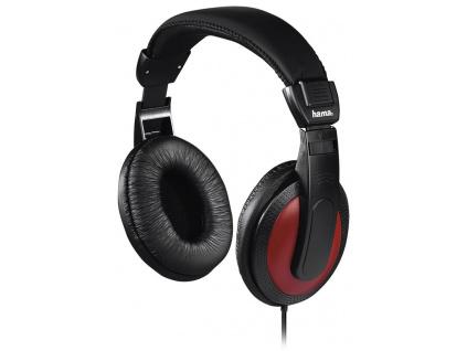 HAMA sluchátka Basic4Music/ drátová/ uzavřená/ 3,5 mm/6,35 jack/ citlivost 113 dB/mW/ černo-červená