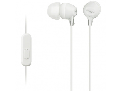 SONY headset do uší MDREX15APW/ sluchátka drátová + mikrofon/ 3,5mm jack/ citlivost 100 dB/mW/ bílá, MDREX15APW.CE7