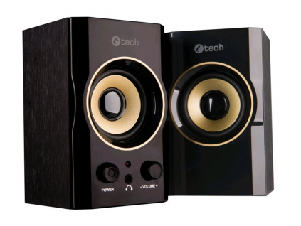 C-TECH reproduktory SPK-11, 2.0, dřevěné, černo-zlaté, USB, 5W, SPK-11