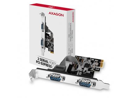AXAGON PCEA-S2N, PCIe řadič - 2x sériový port (RS232) 250 kbps, vč. LP, PCEA-S2N