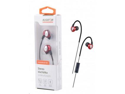 Aligator stereo sluchátka AE03 s mikrofonem, 3,5 mm jack, červená, AE003RD