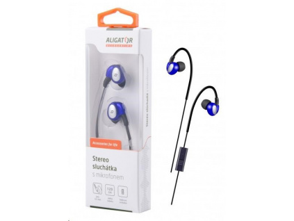 Aligator stereo sluchátka AE03 s mikrofonem, 3,5 mm jack, modrá, AE003BE