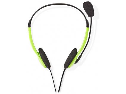 NEDIS headset CHST100GN/ drátová sluchátka + mikrofon/ 2x 3,5 mm jack/ kabel 2 m/ zelený, CHST100GN