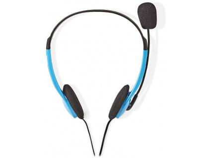 NEDIS headset CHST100BU/ drátová sluchátka + mikrofon/ 2x 3,5 mm jack/ kabel 2 m/ modrý, CHST100BU