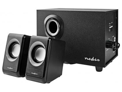 NEDIS PC reproduktory/ 2.1/ výkon 33 W/ 3,5 mm jack/ USB/ ABS/ dřevo/ černé, CSPR10021BK