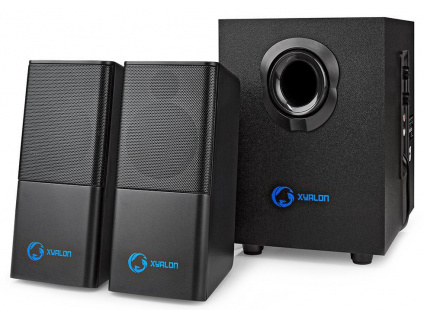 NEDIS herní reproduktory/ 2.1/ výkon 33 W/ 3,5 mm jack/ USB/ ABS/ dřevo/ černé, GSPR10021BK