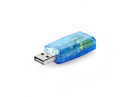 Nedis USCR10051BU - Zvuková Karta | 3D zvuk 5.1 | USB 2.0 | Dvojitý Konektor 3,5 mm, USCR10051BU