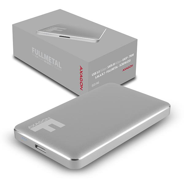 AXAGO AXAGON EE25-F6G, USB3.0 - SATA 6G 2.5'' FULLMETAL externí box, titanově šedý, EE25-F6G