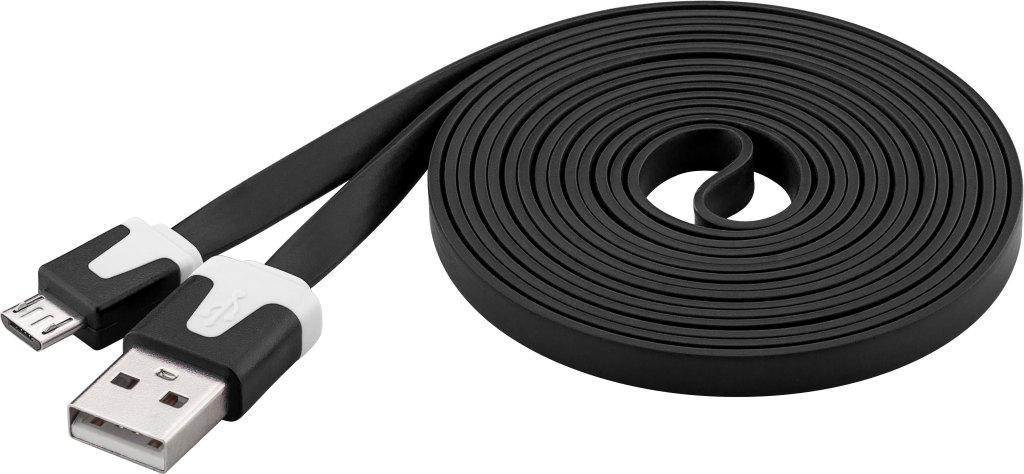 PremiumCord Kabel microUSB 2.0, A-B, plochý, černý, ku2m2fp2