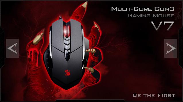 A4tech BLOODY V7 herní myš, až 3200DPI, V-Track technologie, 160KB paměť, USB, CORE 2, kovové podložky, V7M