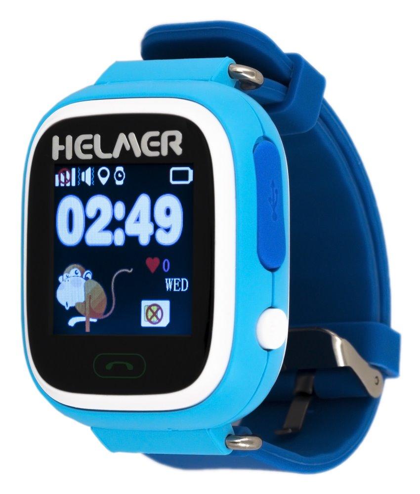 HELMER dětské hodinky LK 703 s GPS lokátorem/ dotykový display/ micro SIM/ IP54/ kompatibilní s Android a iOS/ modré, Helmer LK 703 B