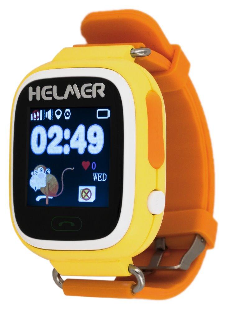 HELMER dětské hodinky LK 703 s GPS lokátorem/ dotykový display/ micro SIM/ IP54/ kompatibilní s Android a iOS/ žluté, Helmer LK 703 Y