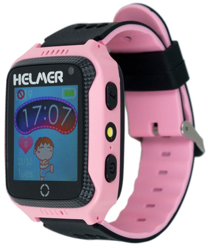 HELMER dětské hodinky LK 707 s GPS lokátorem/ dotykový display/ IP65/ micro SIM/ kompatibilní s Android a iOS/ růžové, Helmer LK 707 P