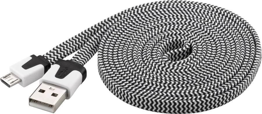 PremiumCord Kabel micro USB 2.0, A-B 2m, plochý textilní kabel, černo-bílý, ku2m2ft